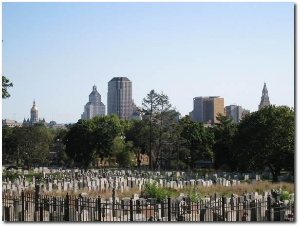 Downtown Hartford as seen from the Zion Hill Cemetery