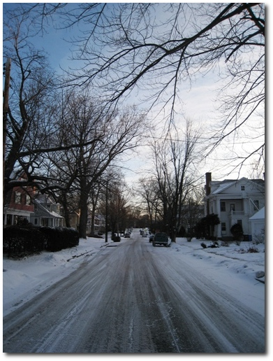 A Snowy Street in Hartford as Monday Morning Arrives